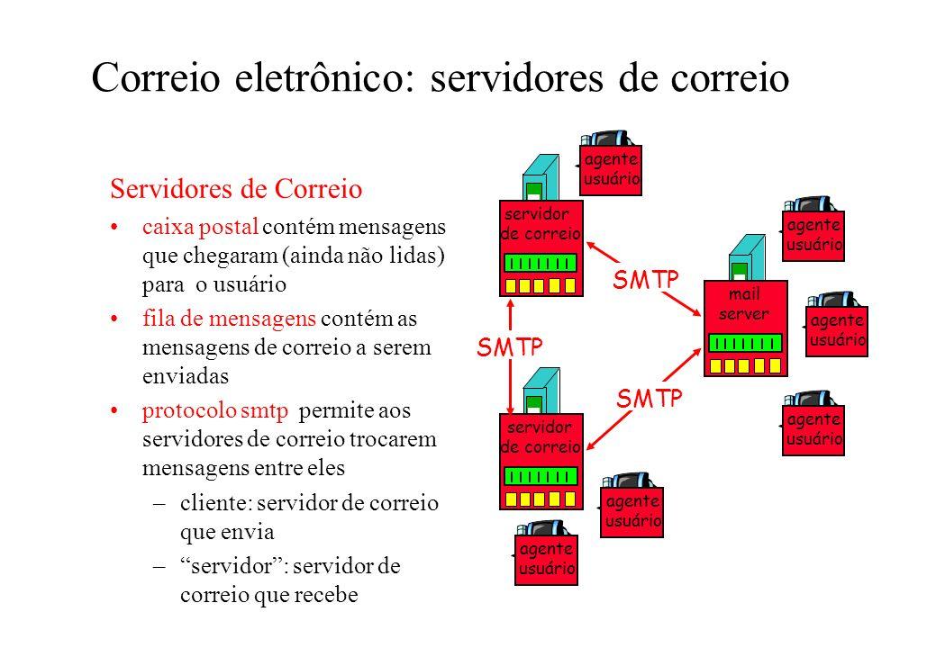 Correio eletrônico: servidores de correio Servidores de Correio caixa postal contém mensagens que chegaram (ainda não lidas) para o usuário fila de me