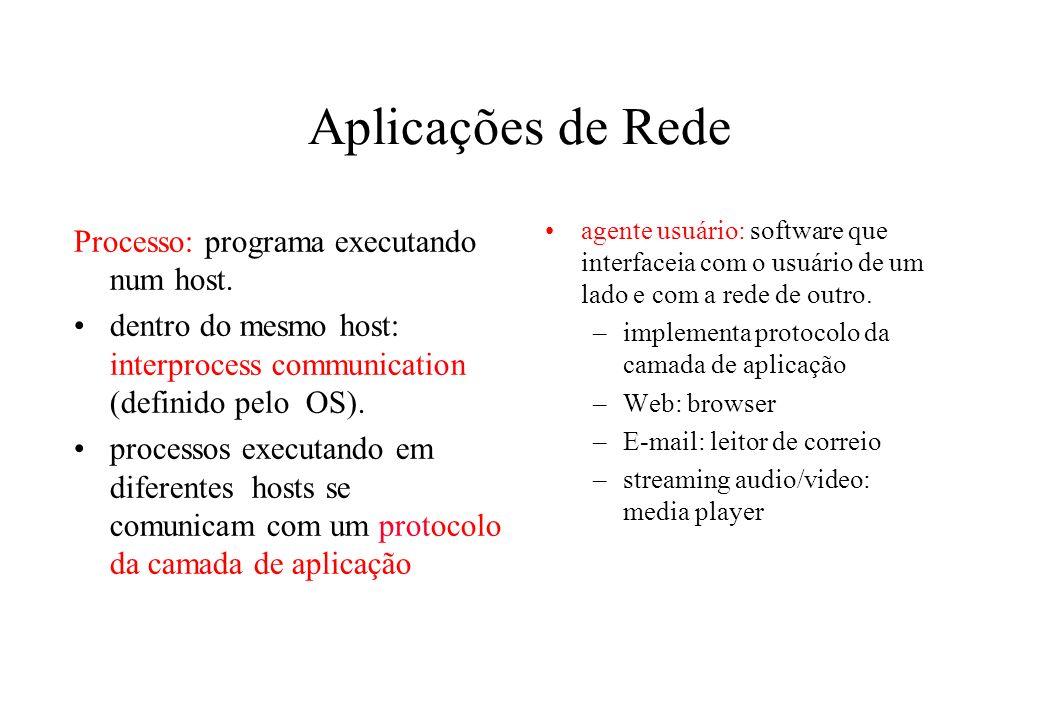 Aplicações de Rede Processo: programa executando num host. dentro do mesmo host: interprocess communication (definido pelo OS). processos executando e
