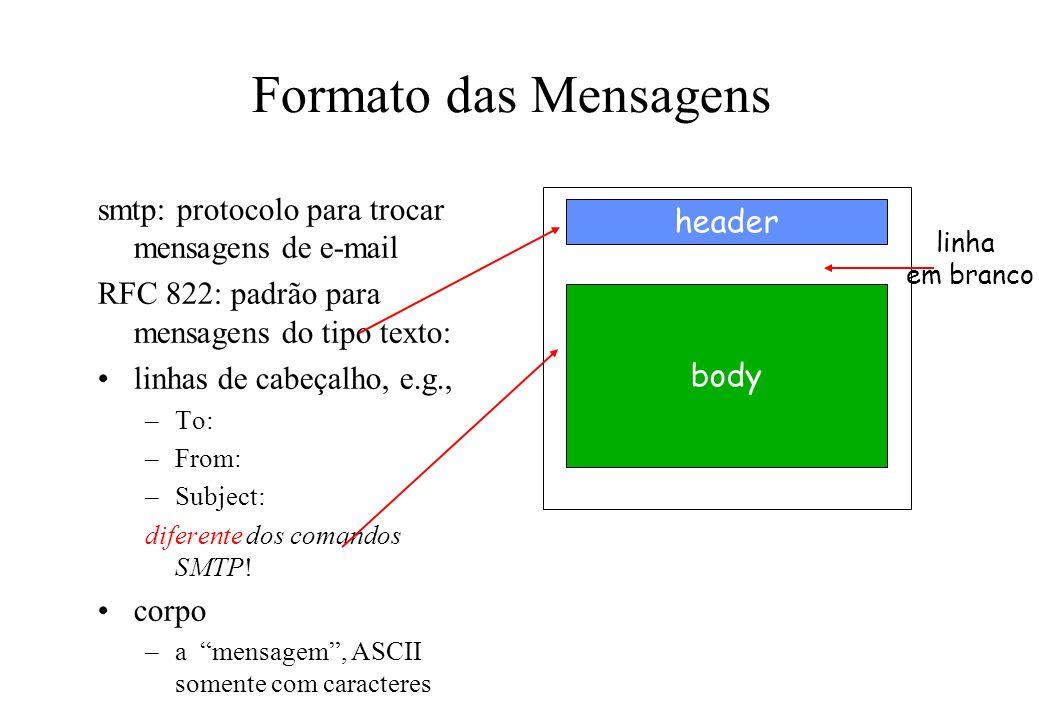 Formato das Mensagens smtp: protocolo para trocar mensagens de e-mail RFC 822: padrão para mensagens do tipo texto: linhas de cabeçalho, e.g., –To: –F