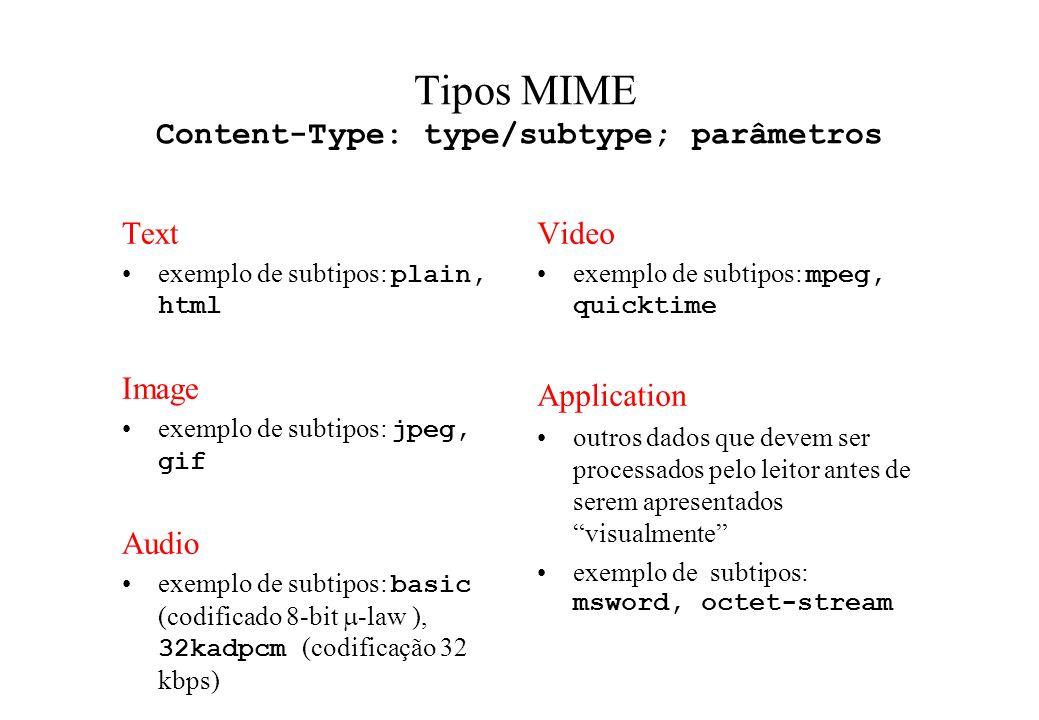 Tipos MIME Content-Type: type/subtype; parâmetros Text exemplo de subtipos: plain, html Image exemplo de subtipos: jpeg, gif Audio exemplo de subtipos