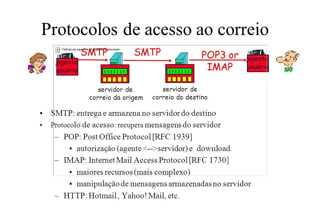 Protocolos de acesso ao correio SMTP: entrega e armazena no servidor do destino Protoco lo de acesso : recupera mensagens do servidor –POP: Post Offic