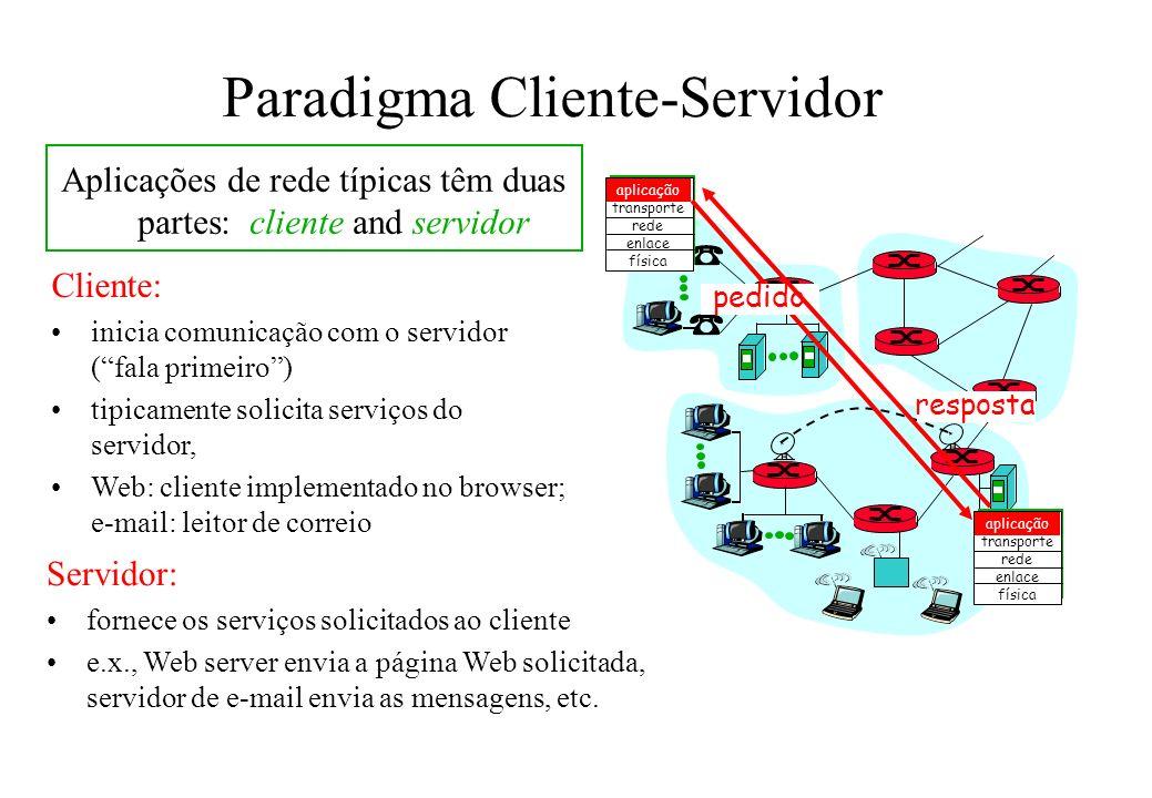 Formato das Mensagens dois tipos de mensagens HTTP: request, response http request message: –ASCII (formato legível para humanos) GET /somedir/page.html HTTP/1.0 User-agent: Mozilla/4.0 Accept: text/html, image/gif,image/jpeg Accept-language:fr (extra carriage return, line feed) linha de pedido (comandos GET, POST,HEAD ) linhas de cabeçalho Carriage return, line feed indica fim da mensagem