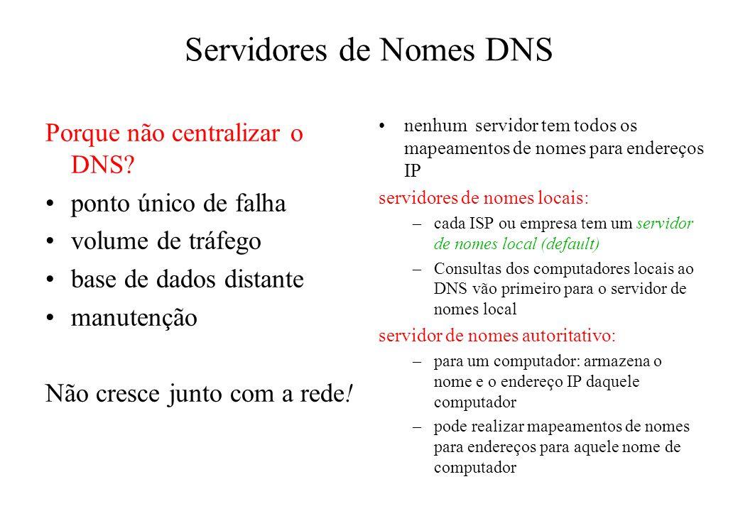 Servidores de Nomes DNS nenhum servidor tem todos os mapeamentos de nomes para endereços IP servidores de nomes locais: –cada ISP ou empresa tem um se