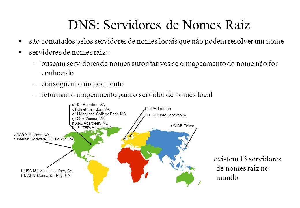 DNS: Servidores de Nomes Raiz são contatados pelos servidores de nomes locais que não podem resolver um nome servidores de nomes raiz:: –buscam servid