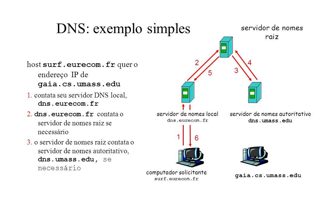 DNS: exemplo simples host surf.eurecom.fr quer o endereço IP de gaia.cs.umass.edu 1. contata seu servidor DNS local, dns.eurecom.fr 2. dns.eurecom.fr