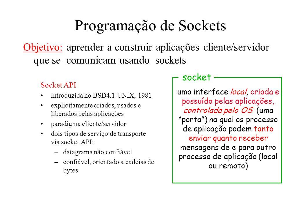 Programação de Sockets Socket API introduzida no BSD4.1 UNIX, 1981 explicitamente criados, usados e liberados pelas aplicações paradigma cliente/servi