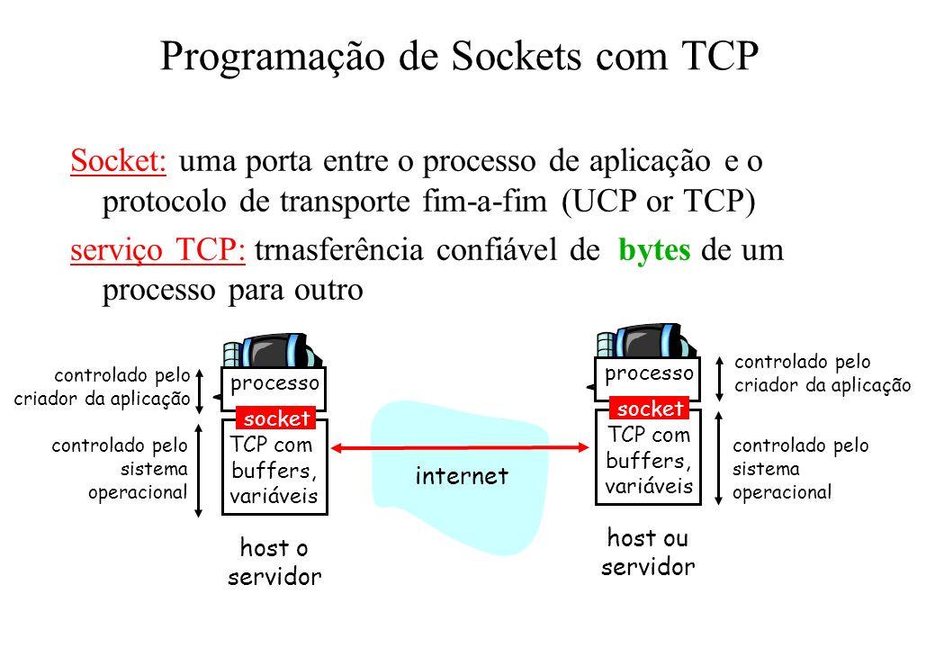 Programação de Sockets com TCP Socket: uma porta entre o processo de aplicação e o protocolo de transporte fim-a-fim (UCP or TCP) serviço TCP: trnasfe