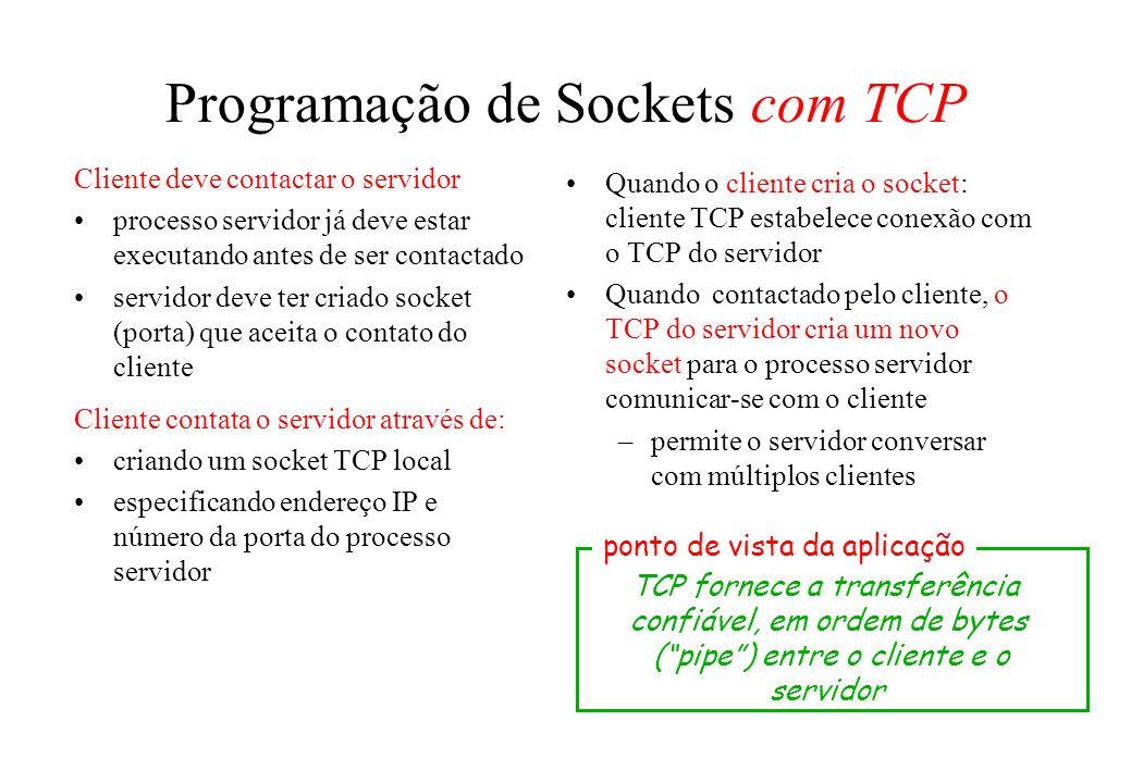 Programação de Sockets com TCP Cliente deve contactar o servidor processo servidor já deve estar executando antes de ser contactado servidor deve ter