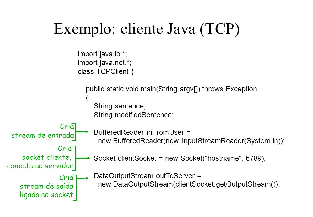 Exemplo: cliente Java (TCP) import java.io.*; import java.net.*; class TCPClient { public static void main(String argv[]) throws Exception { String se
