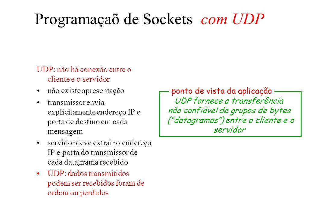 Programaçaõ de Sockets com UDP UDP: não há conexão entre o cliente e o servidor não existe apresentação transmissor envia explicitamente endereço IP e