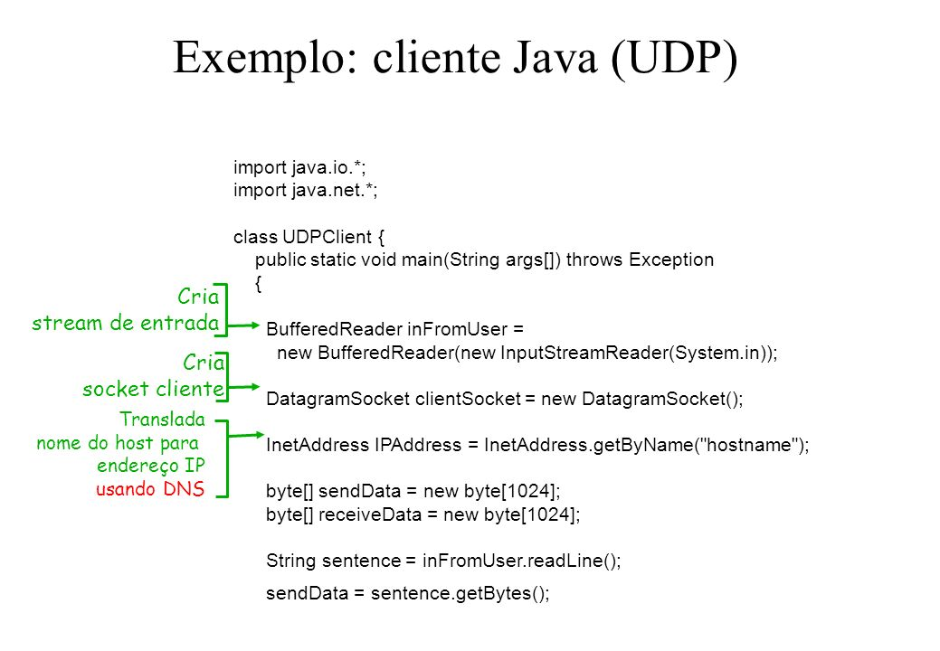 Exemplo: cliente Java (UDP) import java.io.*; import java.net.*; class UDPClient { public static void main(String args[]) throws Exception { BufferedR
