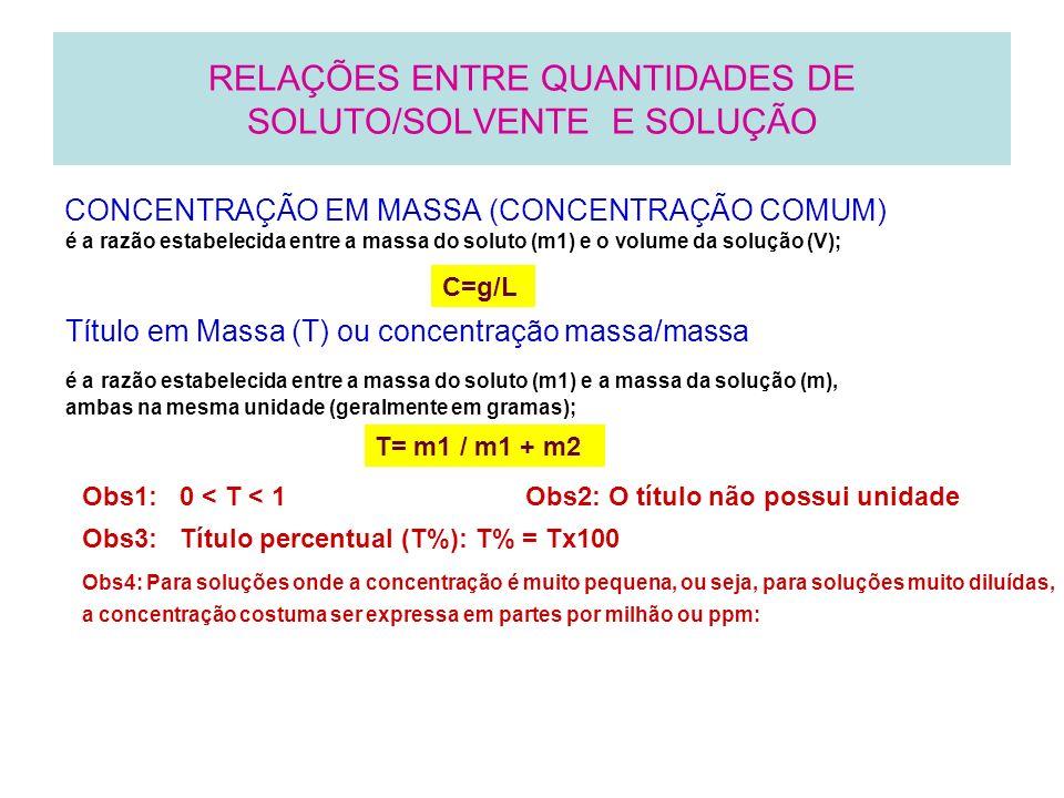 CONCENTRAÇÃO MOLAR OU MOLARIDADE OU CONCENTRAÇÃO EM QUANTIDADE DE MATÉRIA - M RELAÇÕES ENTRE QUANTIDADES DE SOLUTO/SOLVENTE E SOLUÇÃO é a razão estabelecida entre o número de mols de moléculas do soluto (n1) e o volume da solução (V), em litros; M = n/ V onde n= m/mol Densidade absoluta (d) é a razão estabelecida entre a massa da solução (m) e o volume (V) dessa solução d = m/v Unidade: g/mL = g/cm3; g/L = g/m3;