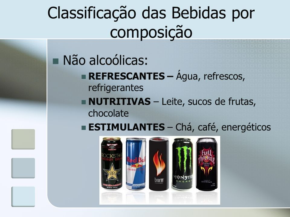 Classificação das Bebidas por composição Não alcoólicas: REFRESCANTES – Água, refrescos, refrigerantes NUTRITIVAS – Leite, sucos de frutas, chocolate