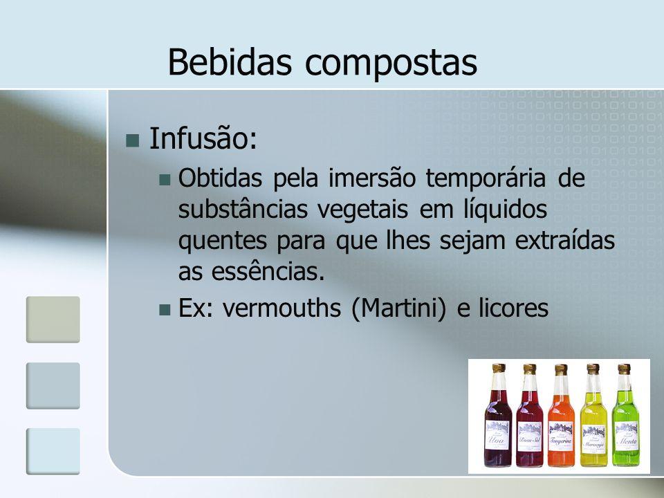 Bebidas compostas Infusão: Obtidas pela imersão temporária de substâncias vegetais em líquidos quentes para que lhes sejam extraídas as essências. Ex: