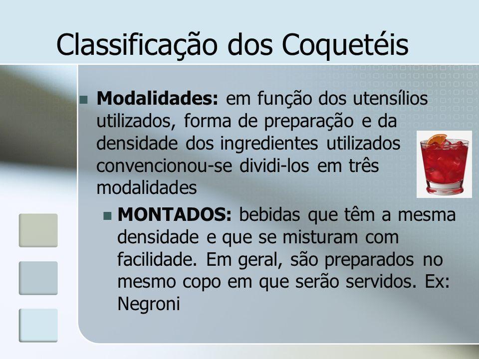 Classificação dos Coquetéis Modalidades: em função dos utensílios utilizados, forma de preparação e da densidade dos ingredientes utilizados convencio