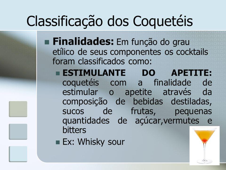 Classificação dos Coquetéis Finalidades: Em função do grau etílico de seus componentes os cocktails foram classificados como: ESTIMULANTE DO APETITE: