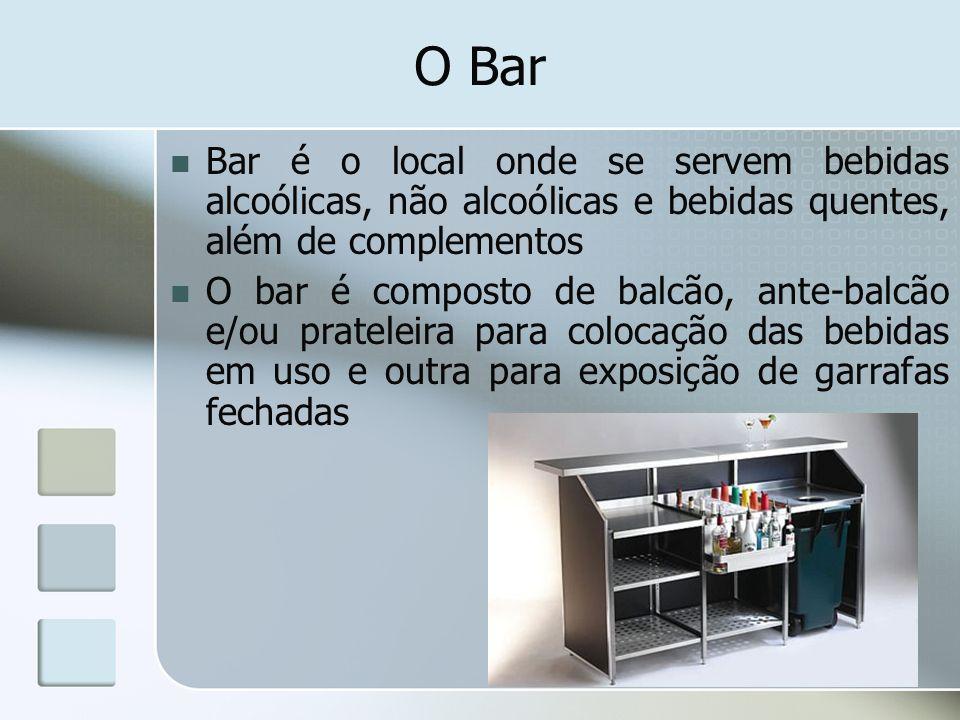 O Bar Bar é o local onde se servem bebidas alcoólicas, não alcoólicas e bebidas quentes, além de complementos O bar é composto de balcão, ante-balcão