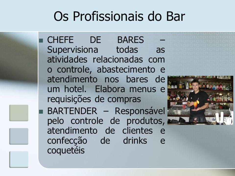 Os Profissionais do Bar GARÇON DE BAR – Serviço para os clientes dos bares COMMIS DE BAR –Auxilio do serviço do garçom e do bartender BARISTA – Responsável pelo serviço de café (novo profissional no bar)