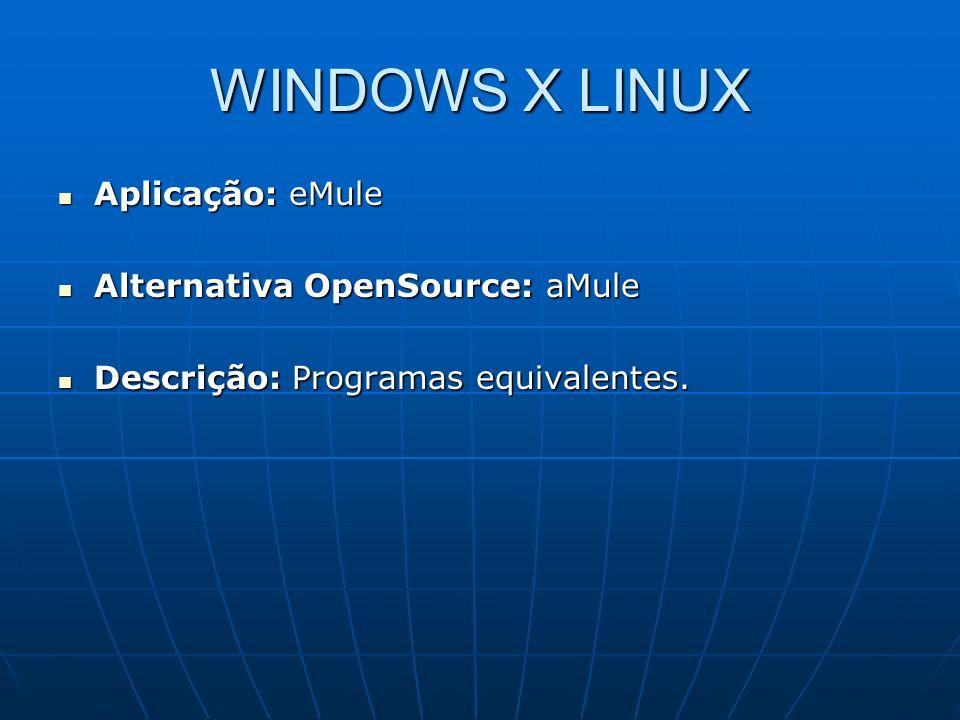 WINDOWS X LINUX Aplicação: eMule Aplicação: eMule Alternativa OpenSource: aMule Alternativa OpenSource: aMule Descrição: Programas equivalentes. Descr