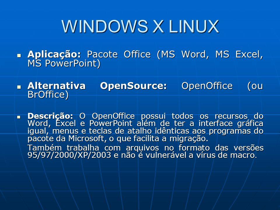 WINDOWS X LINUX Aplicação: Pacote Office (MS Word, MS Excel, MS PowerPoint) Aplicação: Pacote Office (MS Word, MS Excel, MS PowerPoint) Alternativa Op