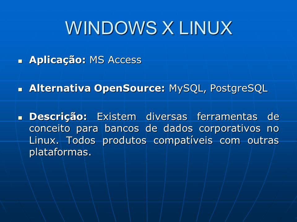 WINDOWS X LINUX Aplicação: MS Access Aplicação: MS Access Alternativa OpenSource: MySQL, PostgreSQL Alternativa OpenSource: MySQL, PostgreSQL Descriçã