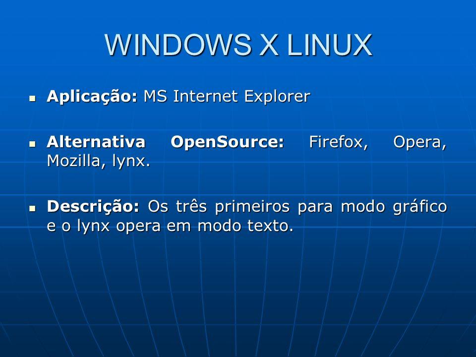 WINDOWS X LINUX Aplicação: ICQ, MSN Aplicação: ICQ, MSN Alternativa OpenSource: aMSN, LICQ, PIDGIM, SIM Alternativa OpenSource: aMSN, LICQ, PIDGIM, SIM Descrição: Muito prático e fácil de operar.