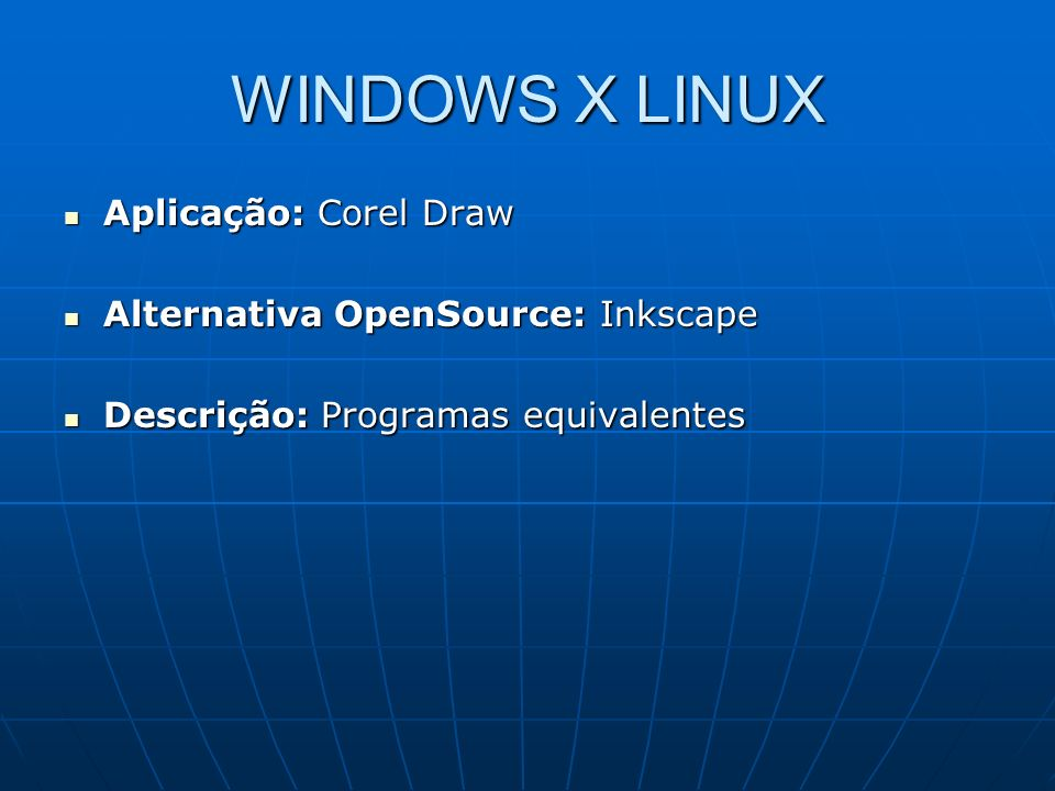 WINDOWS X LINUX Aplicação: Corel Draw Aplicação: Corel Draw Alternativa OpenSource: Inkscape Alternativa OpenSource: Inkscape Descrição: Programas equ
