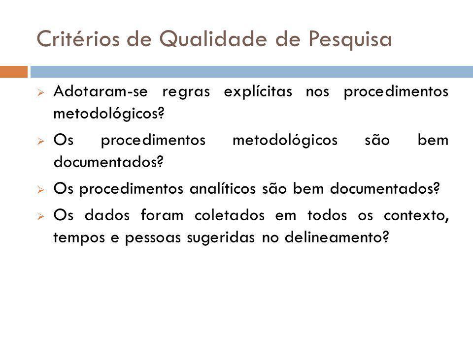 Critérios de Qualidade de Pesquisa Adotaram-se regras explícitas nos procedimentos metodológicos? Os procedimentos metodológicos são bem documentados?