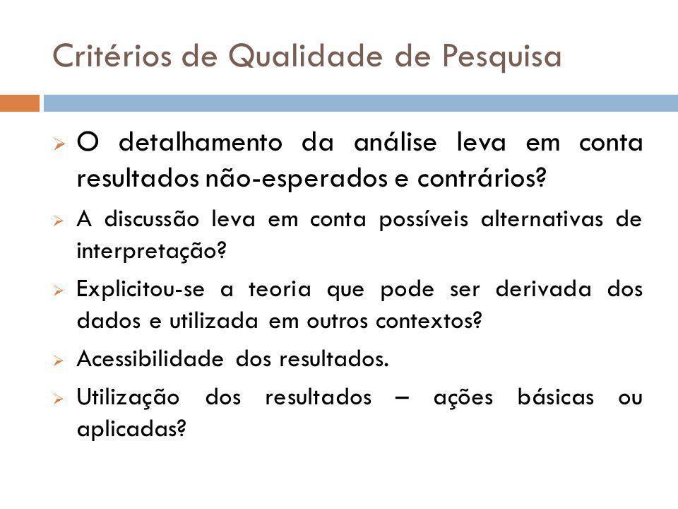 Critérios de Qualidade de Pesquisa O detalhamento da análise leva em conta resultados não-esperados e contrários? A discussão leva em conta possíveis