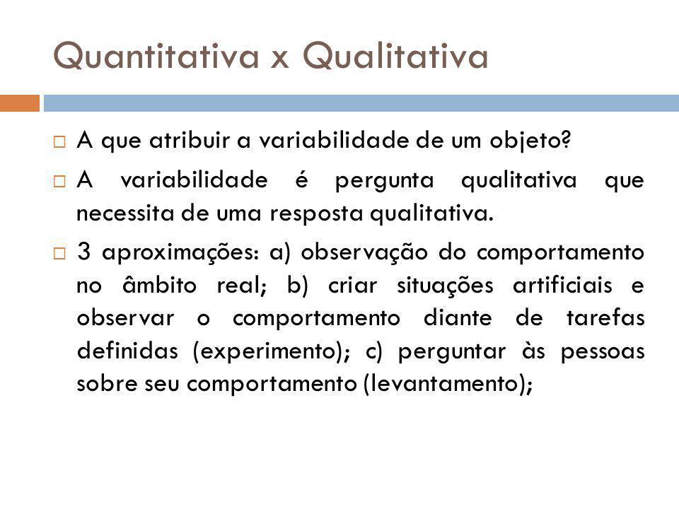 Quantitativa x Qualitativa Características: Qualitativa: a) realidade social é vista como construção; b) a ênfase no caráter processual e reflexão; c) as condições objetivas são relevantes por meio da subjetividade; d) ponto de partida da pesquisa é o refazer do processo de construção social.