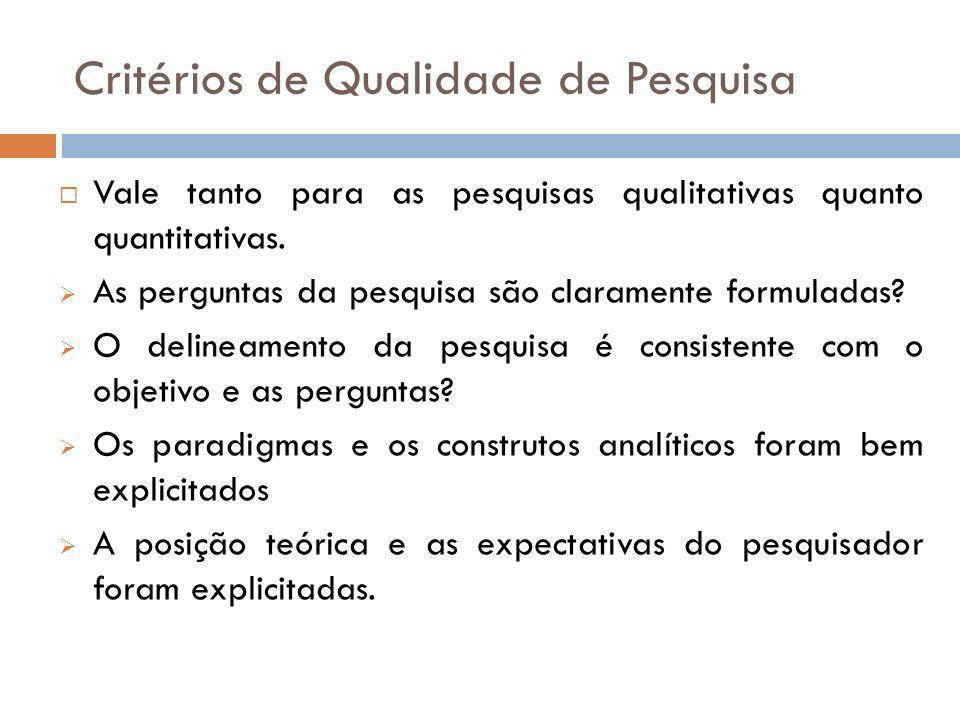Critérios de Qualidade de Pesquisa Adotaram-se regras explícitas nos procedimentos metodológicos.