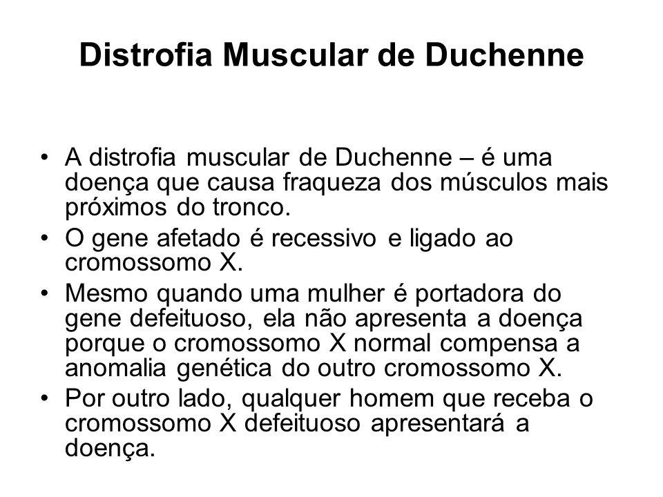 Distrofia Muscular de Duchenne Os meninos com distrofia muscular de Duchenne apresentam falta de uma proteína muscular essencial, a distrofina, a qual, é importante para a manutenção da estrutura das células musculares.
