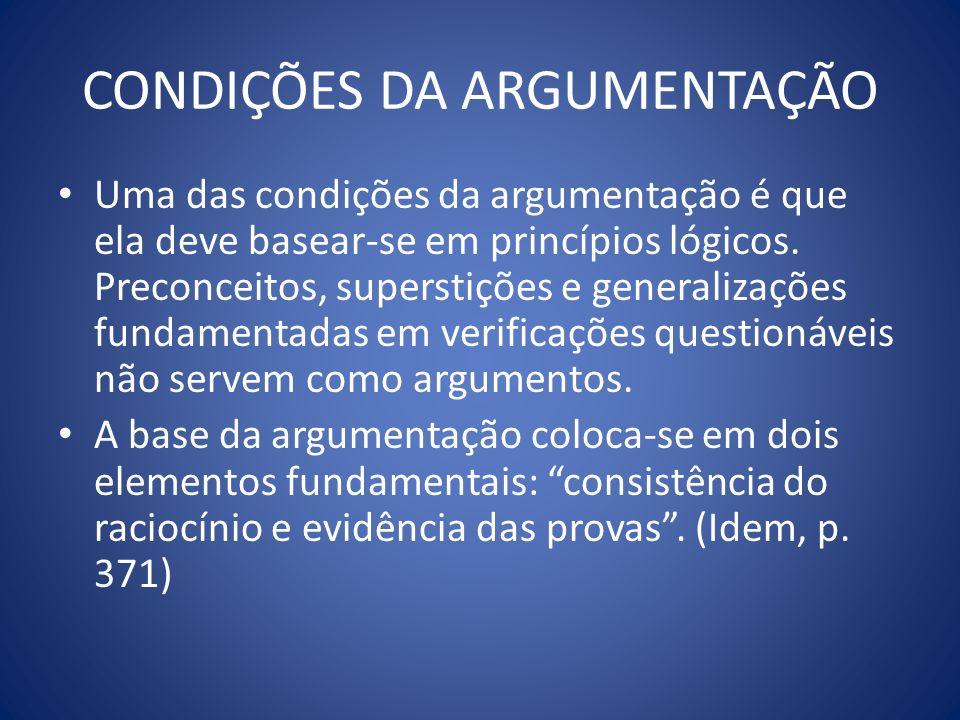 CONDIÇÕES DA ARGUMENTAÇÃO Uma das condições da argumentação é que ela deve basear-se em princípios lógicos. Preconceitos, superstições e generalizaçõe