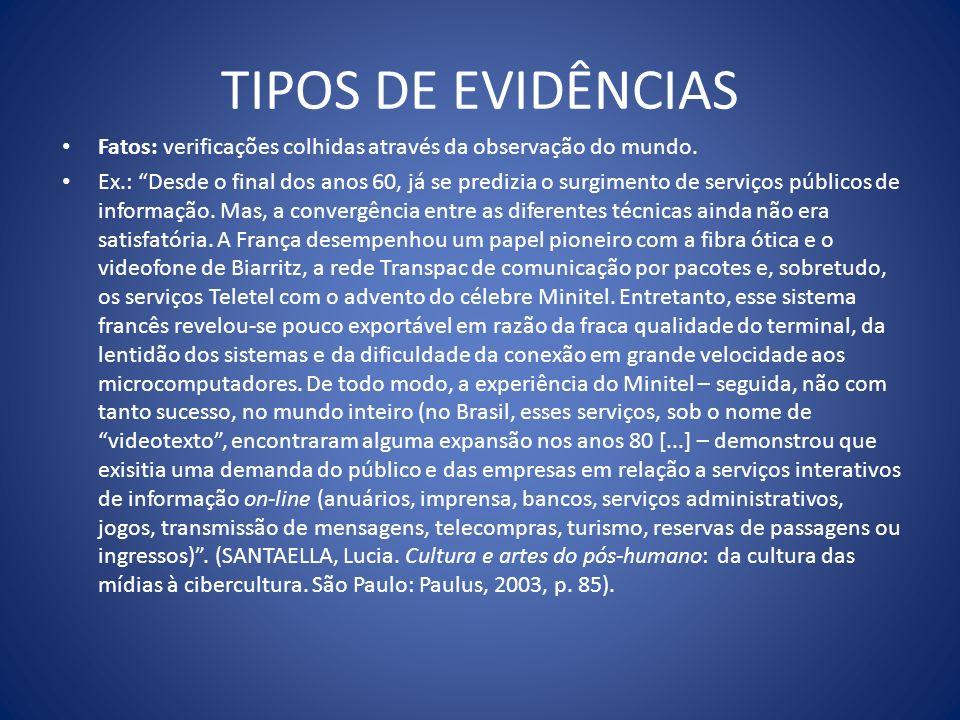 Exemplos: são fatos típicos ou representativos de determinada situação (Garcia, 1983, p.