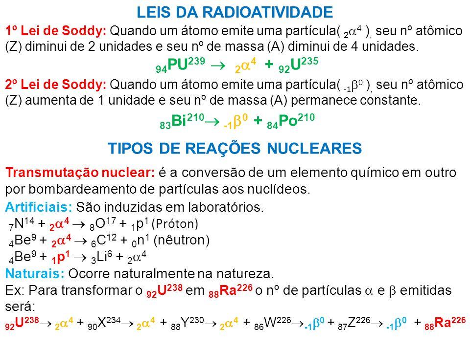 TIPOS DE REAÇÕES NUCLEARES LEIS DA RADIOATIVIDADE 1º Lei de Soddy: Quando um átomo emite uma partícula( 2 4 ), seu nº atômico (Z) diminui de 2 unidade