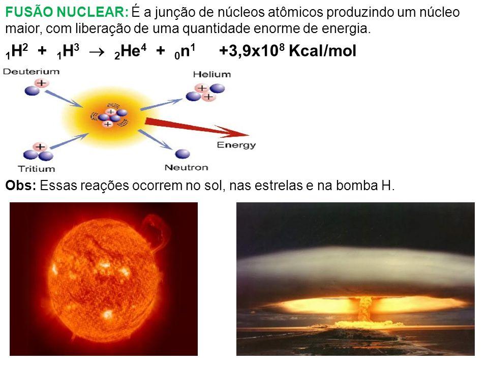 FUSÃO NUCLEAR: É a junção de núcleos atômicos produzindo um núcleo maior, com liberação de uma quantidade enorme de energia. 1 H 2 + 1 H 3 2 He 4 + 0