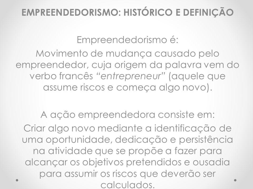 EMPREENDEDORISMO: HISTÓRICO E DEFINIÇÃO Empreendedorismo é: Movimento de mudança causado pelo empreendedor, cuja origem da palavra vem do verbo francê