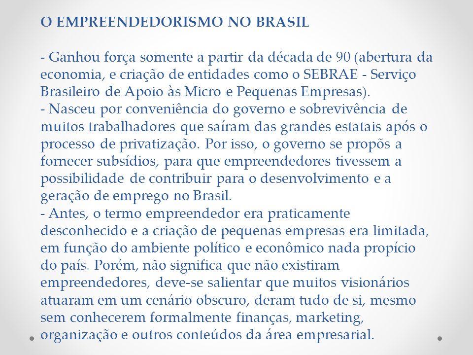 O EMPREENDEDORISMO NO BRASIL - Ganhou força somente a partir da década de 90 (abertura da economia, e criação de entidades como o SEBRAE - Serviço Bra