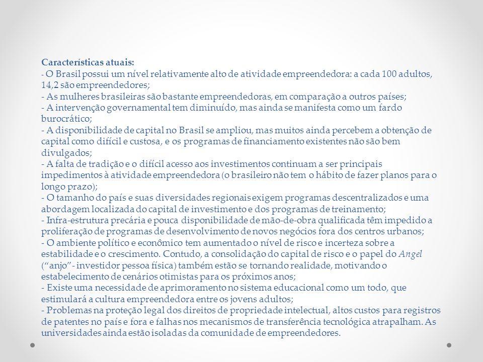 Características atuais: - O Brasil possui um nível relativamente alto de atividade empreendedora: a cada 100 adultos, 14,2 são empreendedores; - As mu