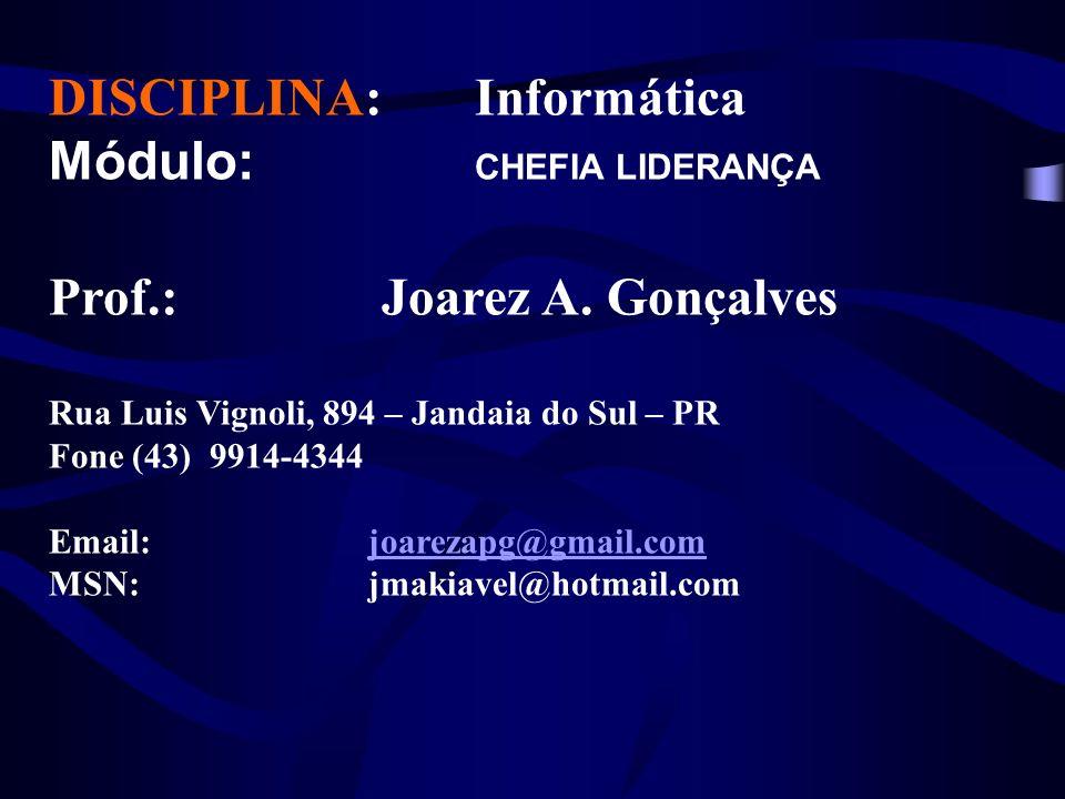DISCIPLINA: Informática Módulo: CHEFIA LIDERANÇA Prof.: Joarez A.