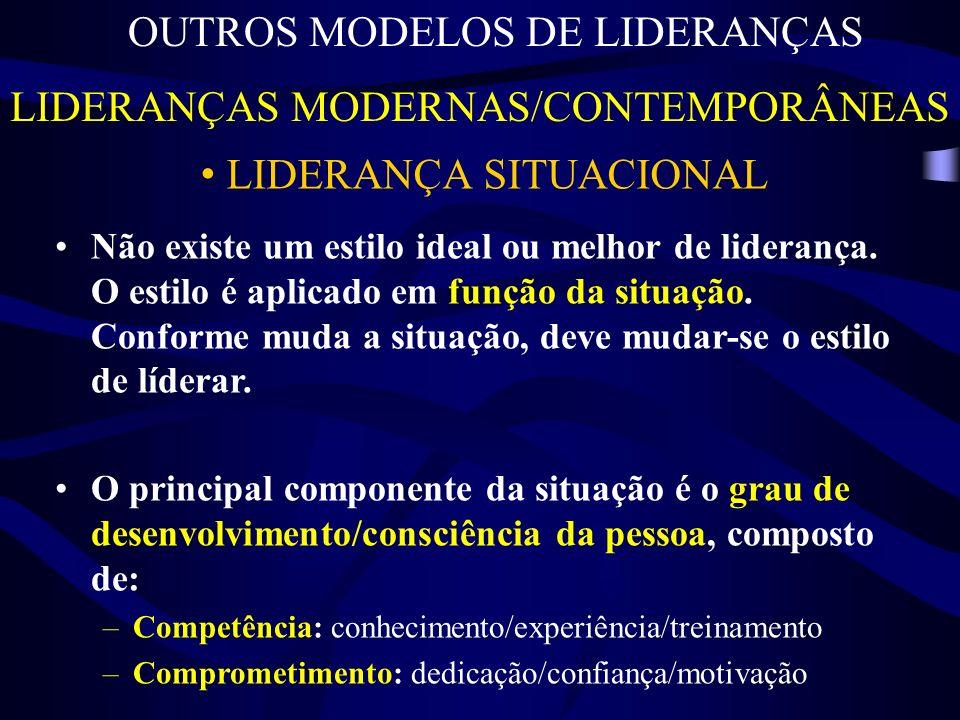 LIDERANÇAS MODERNAS/CONTEMPORÂNEAS OUTROS MODELOS DE LIDERANÇAS LIDERANÇA SITUACIONAL Não existe um estilo ideal ou melhor de liderança.