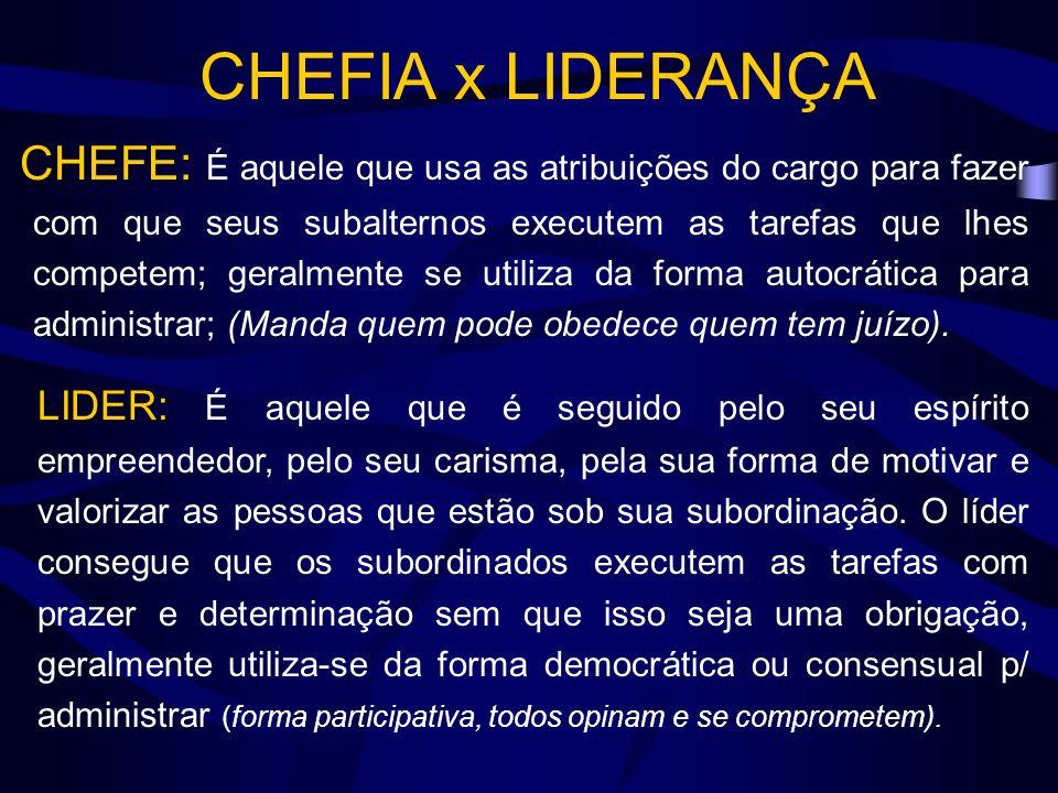 CHEFIA x LIDERANÇA CHEFE: CHEFE: É aquele que usa as atribuições do cargo para fazer com que seus subalternos executem as tarefas que lhes competem; geralmente se utiliza da forma autocrática para administrar; (Manda quem pode obedece quem tem juízo).