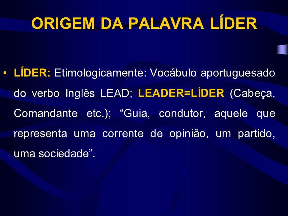 LÍDER: LEADER=LÍDERLÍDER: Etimologicamente: Vocábulo aportuguesado do verbo Inglês LEAD; LEADER=LÍDER (Cabeça, Comandante etc.); Guia, condutor, aquele que representa uma corrente de opinião, um partido, uma sociedade.