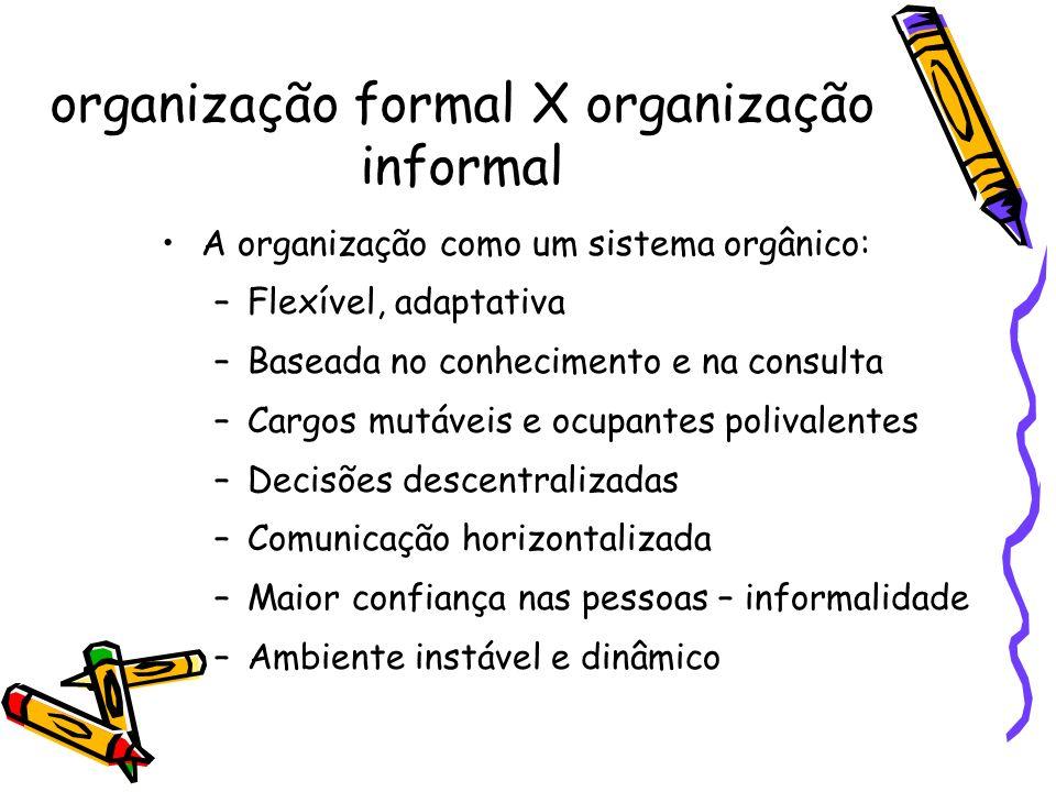 A organização como um sistema orgânico: –Flexível, adaptativa –Baseada no conhecimento e na consulta –Cargos mutáveis e ocupantes polivalentes –Decisõ