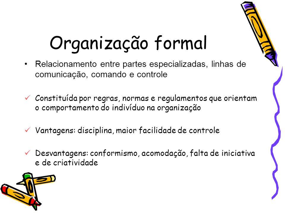 Organização formal Relacionamento entre partes especializadas, linhas de comunicação, comando e controle Constituída por regras, normas e regulamentos