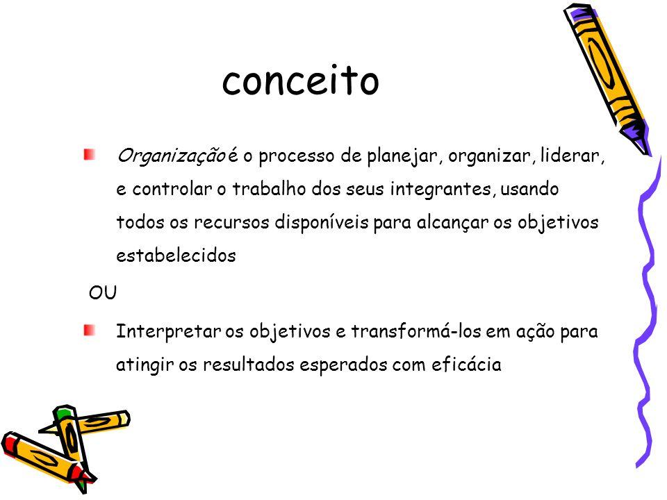 conceito Organização é o processo de planejar, organizar, liderar, e controlar o trabalho dos seus integrantes, usando todos os recursos disponíveis p