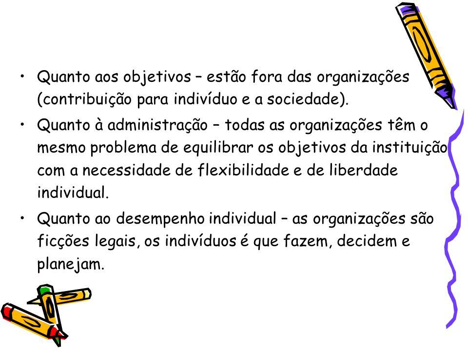 Quanto aos objetivos – estão fora das organizações (contribuição para indivíduo e a sociedade). Quanto à administração – todas as organizações têm o m