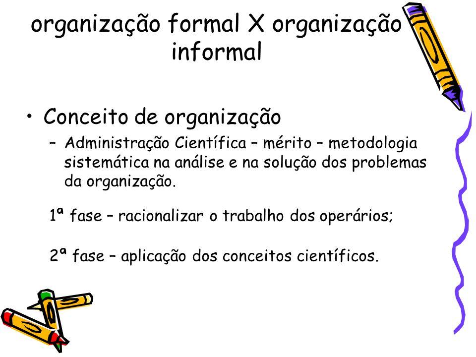 organização formal X organização informal Conceito de organização –Administração Científica – mérito – metodologia sistemática na análise e na solução