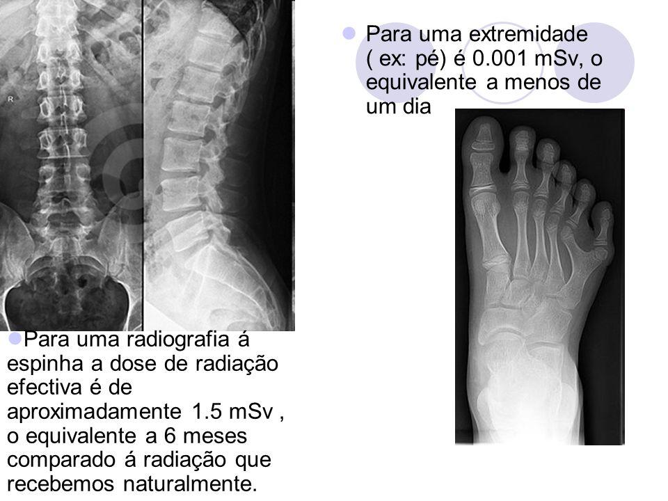 Para uma extremidade ( ex: pé) é 0.001 mSv, o equivalente a menos de um dia Para uma radiografia á espinha a dose de radiação efectiva é de aproximada