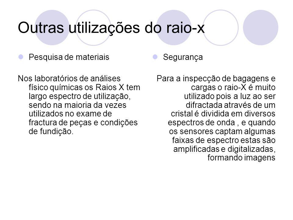 Outras utilizações do raio-x Pesquisa de materiais Nos laboratórios de análises físico químicas os Raios X tem largo espectro de utilização, sendo na